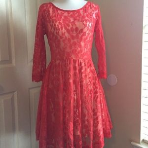 Free People Red Lace Fit & Flare Full Skirt Dress2